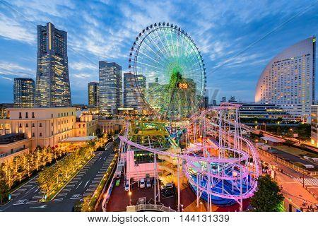 Yokohama, Japan cityscape at dusk.