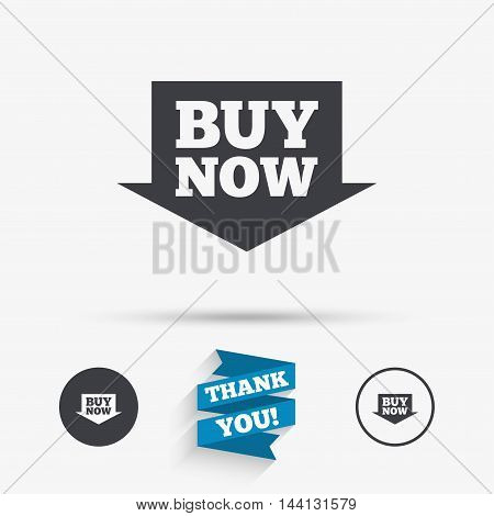 Buy now sign icon. Online buying arrow button. Flat icons. Buttons with icons. Thank you ribbon. Vector