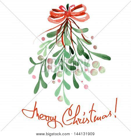 Illustration (image) of an isolated Christmas watercolor mistletoe with a red bow on a white background