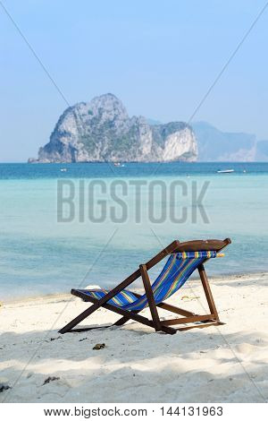 beach chair for vacation time and island view for relax