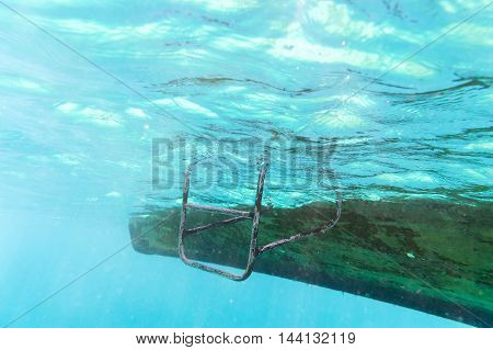 iron stair from boat into the sea for snorkeling drive to underwater