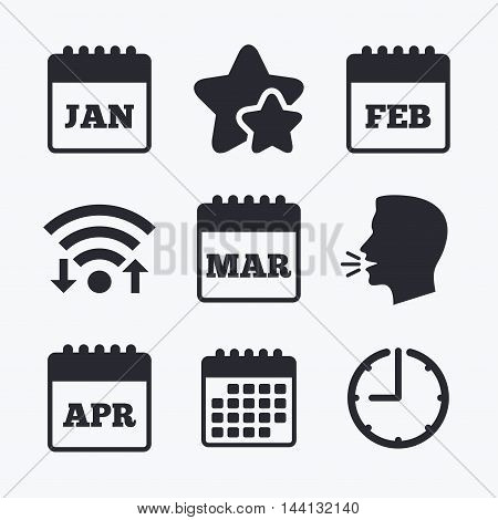 Calendar icons. January, February, March and April month symbols. Date or event reminder sign. Wifi internet, favorite stars, calendar and clock. Talking head. Vector