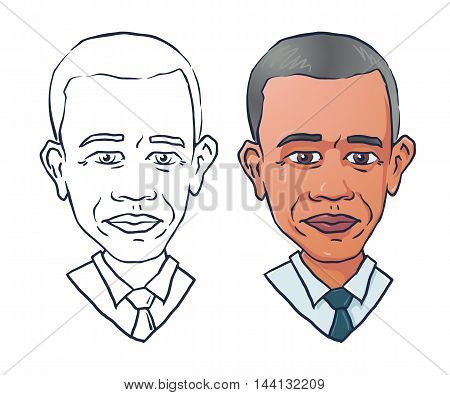 vector portrait of president Barack Obama. Editorial vector illustration EPS8. United states