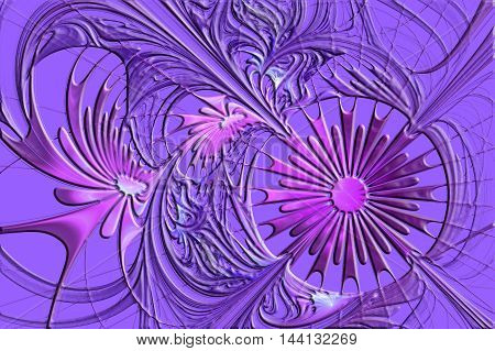 Flower background in fractal design with embossed effect. Artwork for creative design art and entertainment.