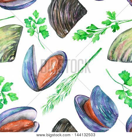 A seamless pattern with the isolated watercolor mussels and greenery, hand-drawn on a white background