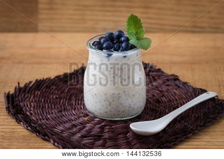 Healthy Breakfast Or Morning Snack With Chia Seeds Vanilla Pudding And Blueberries. Vegetarian Food,
