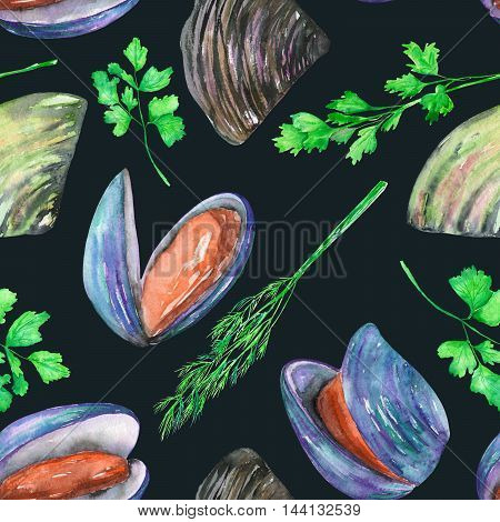 A seamless pattern with the isolated watercolor mussels and greenery, hand-drawn on a dark background