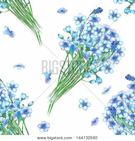 Seamless floral pattern with the bouquets of blue forget-me-not flowers (Myosotis), painted in a watercolor on a white background