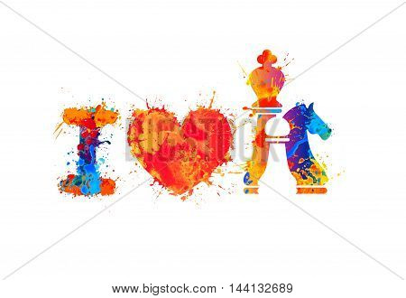 I love chess vector sign. Watercolor splash paint
