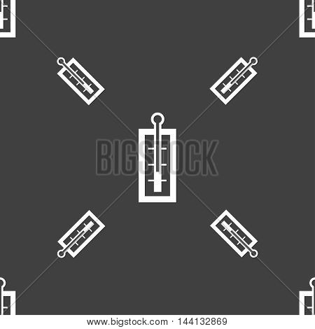 Thermometer Sign. Seamless Pattern On A Gray Background. Vector