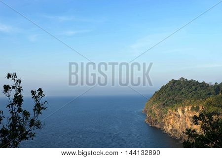 sky and sea lanscape from view point on rok island thailand