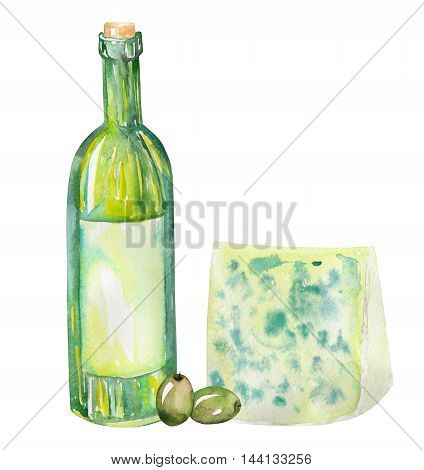 An illustration of the isolated watercolor wine bottle, blue cheese and green olives. Painted hand-drawn in a watercolor on a white background.