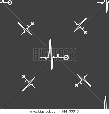 Heartbeat Sign. Seamless Pattern On A Gray Background. Vector