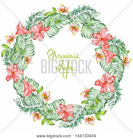 A wreath (frame) of the watercolor red exotic flowers, hibiscus and the leaves of the palms, a place for a text, painted on a white background