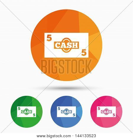 Cash sign icon. Money symbol. Coin and paper money. Triangular low poly button with flat icon. Vector