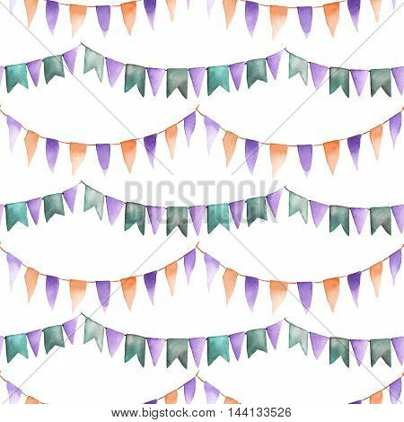 Watercolor seamless pattern with the garland of the flags painted on a white background