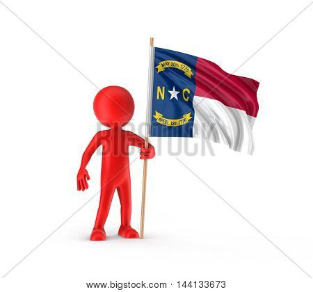 3D Illustration. Man and flag of the US state of North Carolina. Image with clipping path