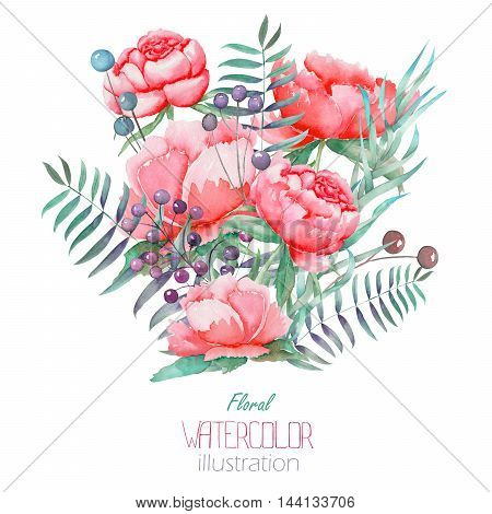 An illustration with a bouquet of the beautiful watercolor red peonies, leaves, branches and purple berries, hand-drawn in a watercolor on a white background