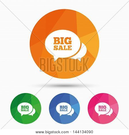 Chat Big sale sign icon. Special offer symbol. Triangular low poly button with flat icon. Vector