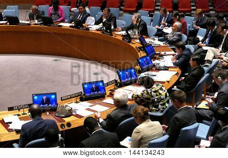 New York United States. 25th August 2016. Security Council 7760 meeting United Nations Interim Administration Mission in Kosovo