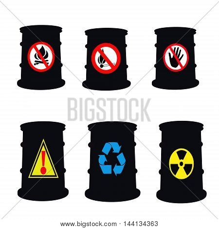 Barrels for petroleum products industrial signs .