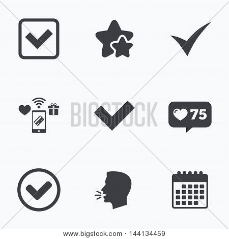 Check icons. Checkbox confirm circle sign symbols. Flat talking head, calendar icons. Stars, like counter icons. Vector
