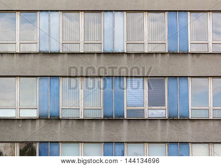 Windows and architecture style of old communism era