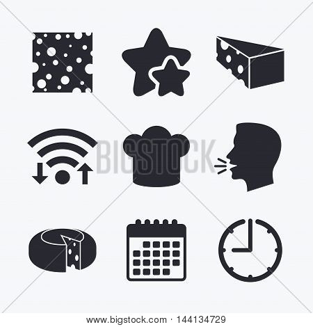 Cheese icons. Round cheese wheel sign. Sliced food with chief hat symbols. Wifi internet, favorite stars, calendar and clock. Talking head. Vector