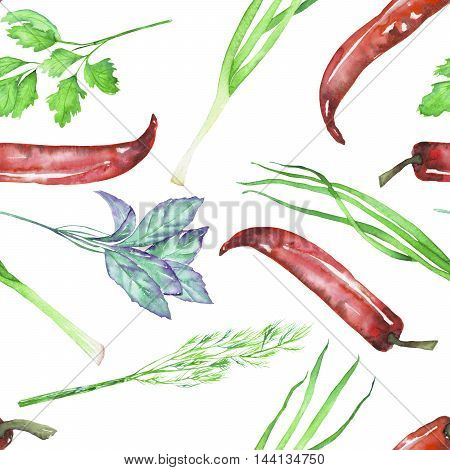 A seamless pattern with the isolated watercolor spices (spicy herbs): onion green, dill, parsley, cilantro, red chili peppers and basil, painted on a white background