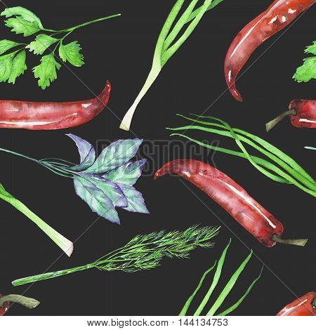 A seamless pattern with the isolated watercolor spices (spicy herbs): onion green, dill, parsley, cilantro, red chili peppers and basil, painted on a dark background
