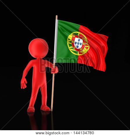 3D Illustration. Man and Portuguese flag. Image with clipping path