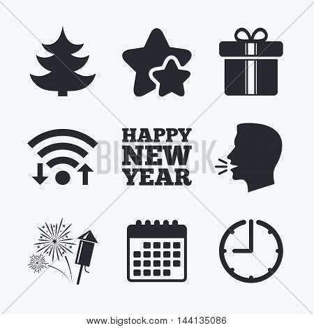 Happy new year icon. Christmas tree and gift box signs. Fireworks rocket symbol. Wifi internet, favorite stars, calendar and clock. Talking head. Vector