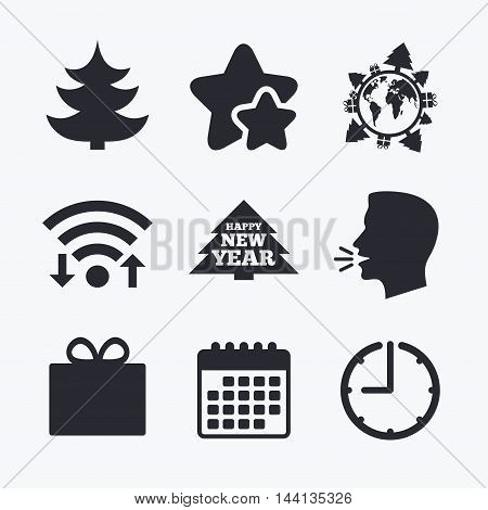Happy new year icon. Christmas trees and gift box signs. World globe symbol. Wifi internet, favorite stars, calendar and clock. Talking head. Vector