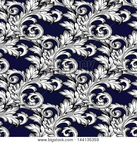 Baroque antique elegant floral  vector seamless pattern with vintage  white flowers and baroque medieval ornaments on the dark blue background. Royal  illustration and 3d vintage decor elements with shadow and highlights. Endless elegant  texture.