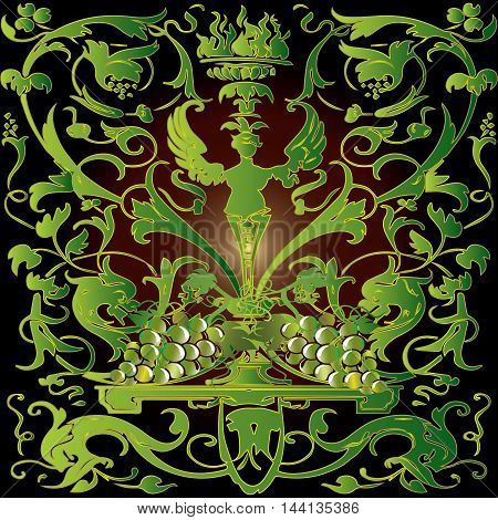 Baroque renessans antique green decorative ornament with medieval leaves and volumetric 3d grapes.