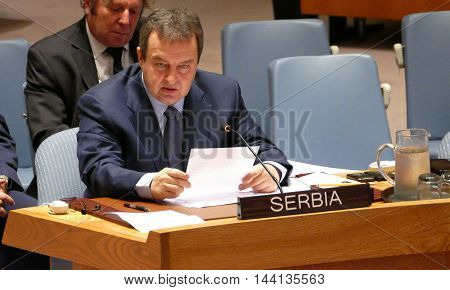 New York United States. 25th August 2016. Minister of Foreign Affairs of Republic of Serbia on Security Council 7760 meeting United Nations Interim Administration Mission in Kosovo