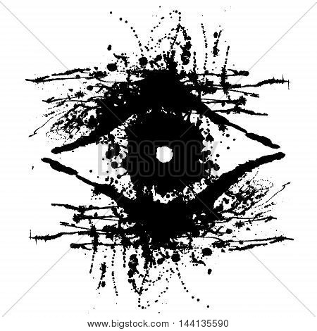 Vector hand drawn eye. Artistic creative black and white graphic illustration with inc splash blots and smudge isolated on the white background.