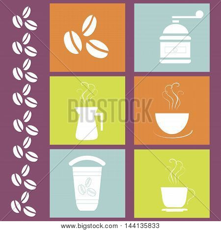 Square blue, orange, green coffee icons on purple background, vector illustration