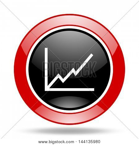 chart round glossy red and black web icon