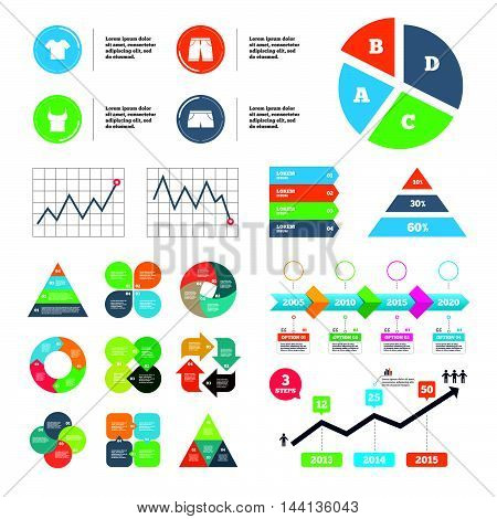 Data pie chart and graphs. Clothes icons. T-shirt and bermuda shorts signs. Swimming trunks symbol. Presentations diagrams. Vector