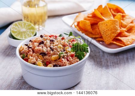 homemade vegetarian couscous with tomato corn beans green peas