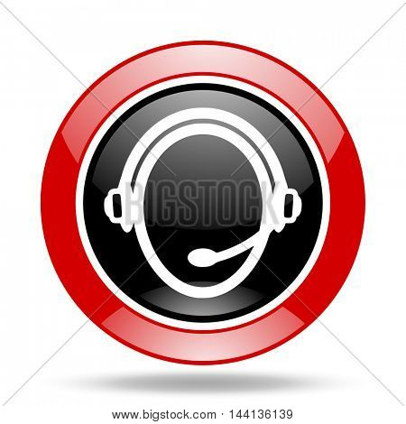 customer service round glossy red and black web icon