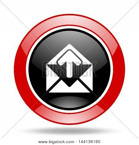 email round glossy red and black web icon