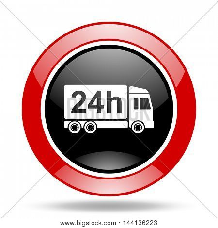 delivery round glossy red and black web icon