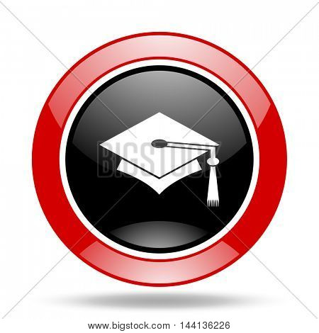 education round glossy red and black web icon