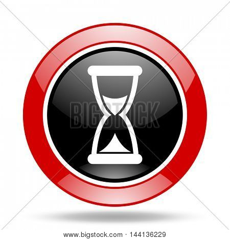 time round glossy red and black web icon
