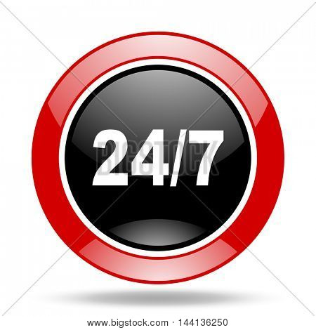 24/7 round glossy red and black web icon