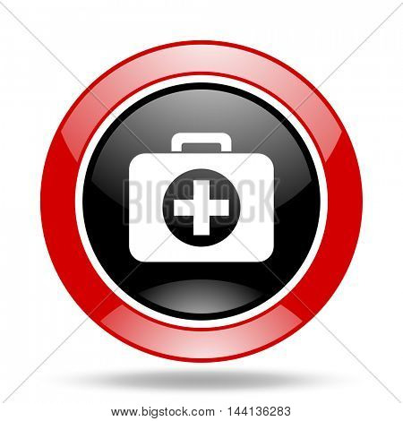 first aid round glossy red and black web icon