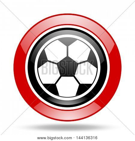 soccer round glossy red and black web icon