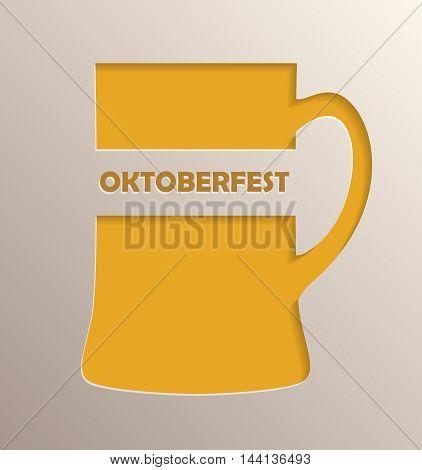 Oktoberfest poster design. Mug of beer with simulation of 3D volume effect.